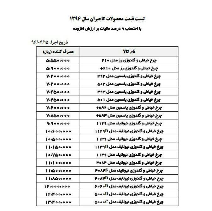 لیست جدید قیمت چرخ های خیاطی و گلدوزی کاچیران